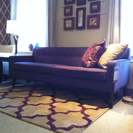 Room scene of Quincy Sofa in Three Sizes in blue fabric by American Leather at Creative Classics Furniture in Alexandria VA near Arlington VA and Washington DC