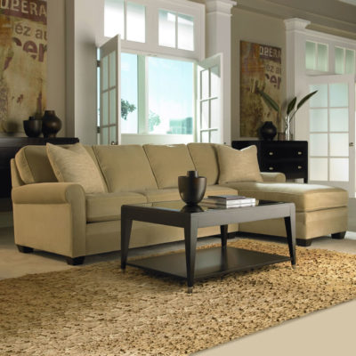 Living room scene of Savoy Sectional in fabric by American Leather at Creative Classics Furniture in Alexandria VA near Arlington VA and Washington DC
