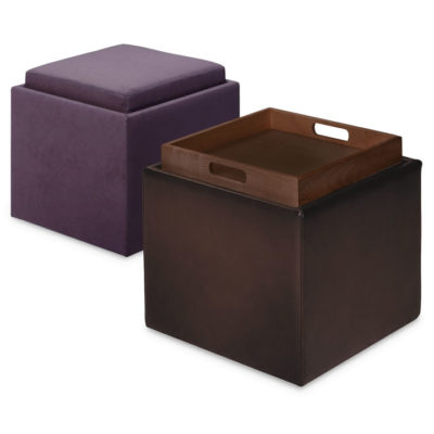 View showing tray of Uno Storage Cube Ottoman by American Leather at Creative Classics Furniture in Alexandria VA near Arlington VA and Washington DC
