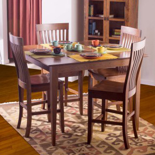 Dining room scene with Solid wood Monterey Bar and Counter Stool by Gat Creek Furniture at Creative Classics in Alexandria VA near Arlington VA and Washington DC