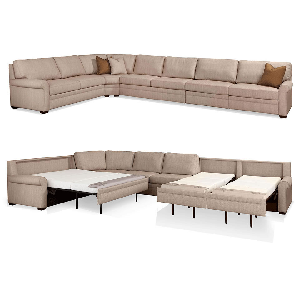 gaines comfort sleeper by american leather sectional comfort sleeper sofa open - American Leather Sleeper Sofa