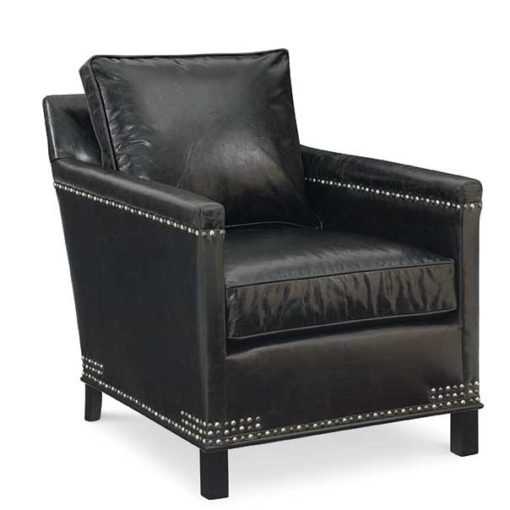 Gotham Chair in black leather by CR Laine Furniture with special nailhead application