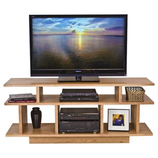 View with TV of Solid wood Brookline Center TV Stand by Lyndon Furniture at Creative Classics Furniture in Alexandria VA near Washington DC and Arlington VA