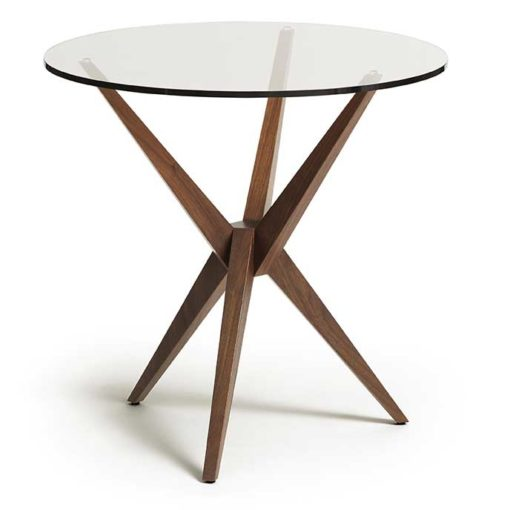 Converge Round Glass Top Table with solid walnut wood base by Copeland Furniture at Creative Classics Furniture in Alexandria VA near Arlington VA and Washington DC