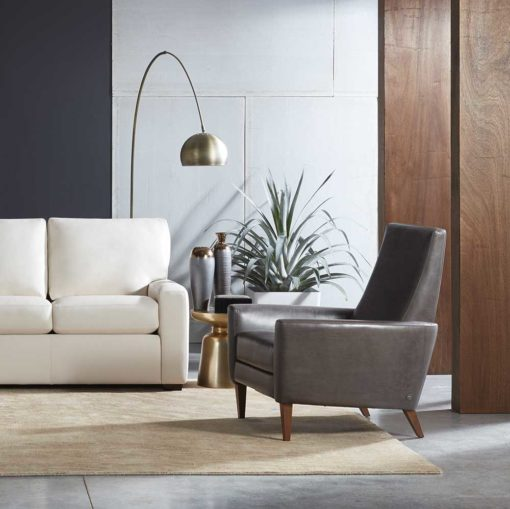 Living room scene with Vida Recliner in gray leather by American Leather at Creative Classics Furniture in Alexandria VA near Washington DC and Arlington VA