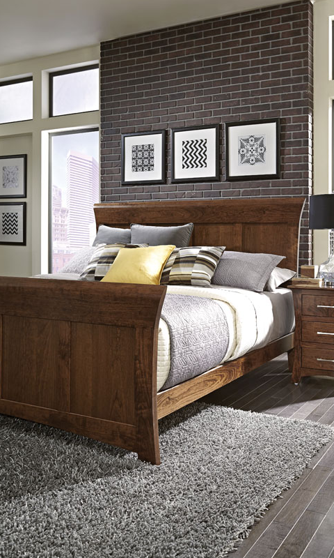 bedroom scene of solid wood Loft II Panel bed by Simply Amish Furniture at Creative Classics Furniture in Alexandria VA