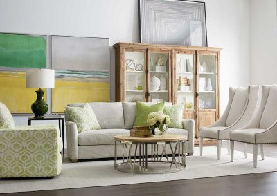 image of living room with lime green accents