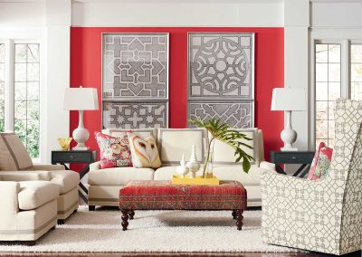 bright red living room accessories