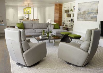 image of neutral gray living room with moss green accents