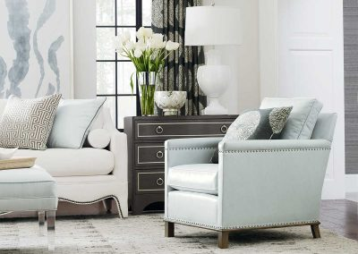 image of neutral living room with ice blue accents
