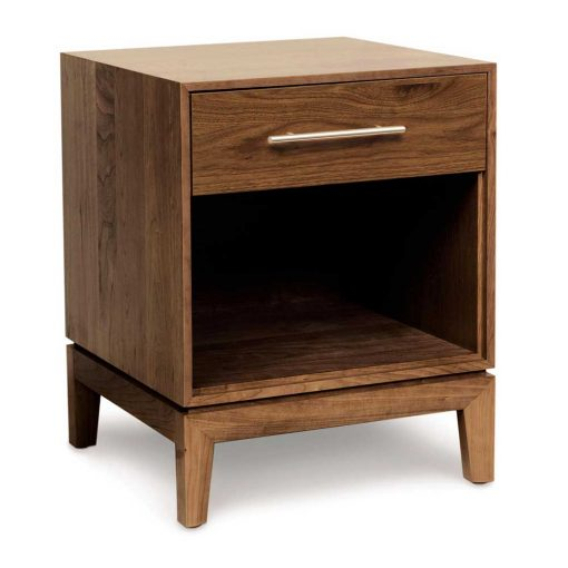 Solid wood Mansfield Single Drawer Nightstand in Natural Walnut by Copeland Furniture at Creative Classics Furniture in Alexandria VA near Washington DC and Arlington VA