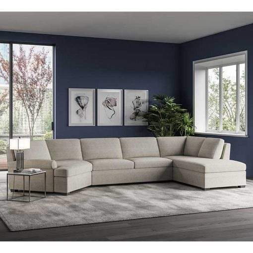 Living room scene of Gaines Comfort Sleeper Sectional in tan fabric by American Leather at Creative Classics Furniture in Alexandria VA near Arlington VA and Washington DC