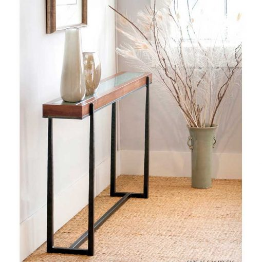 Hall Scene of Facet Glass and Wood Top Cooper Console Table by Charleston Forge at Creative Classics Furniture in Alexandria VA near Washington DC and Arlington VA