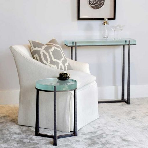 Living room scene of Glass Top Cooper Console Table and Glass Round top end table by Charleston Forge at Creative Classics Furniture in Alexandria VA near Washington DC and Arlington VA