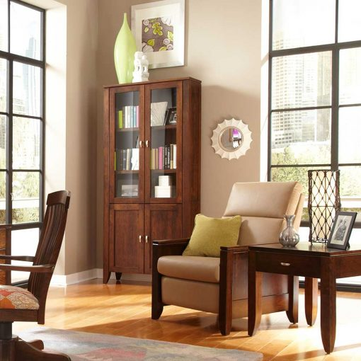 Living room scene of Justine Tall Bookcase with Glass and Wood Doors by Simply Amish Furniture at Creative Classics Furniture in Alexandria VA near Washington DC and Arlington VA
