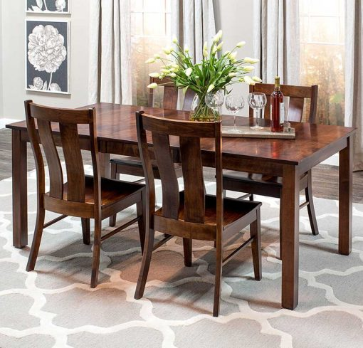 Dining room scene of Sheffield Solid Wood Dining Table and Chairs Set by Simply Amish Furniture at Creative Classics Furniture in Alexandria VA near Washington DC and Arlington VA