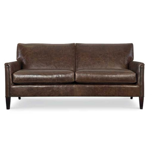 Front view of Digby Condo Sized Sofa in brown leather by CR Laine Furniture at Creative Classics Furniture in Alexandria VA near Washington DC and Arlington VA