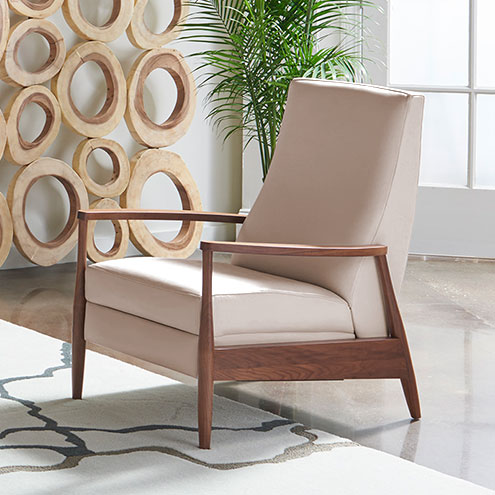 Living room scene with Aston Reinvented Recliner in Mont Blanc Blush Leather by American Leather at Creative Classics Furniture in Alexandria VA near Arlington VA and Washington DC