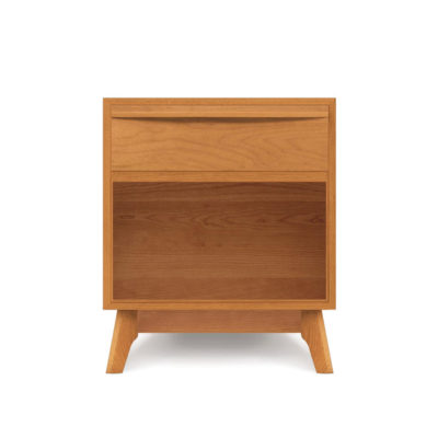 Front view of Solid wood Catalina one drawer nightstand in natural cherry by Copeland Furniture at Creative Classics Furniture in Alexandria VA near Northern VA and Washington DC